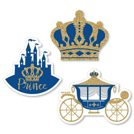 Royal Prince Charming - Shaped Baby Shower or Birthday Party Cut-Outs - 24 Count - Baby Shower Royal Theme