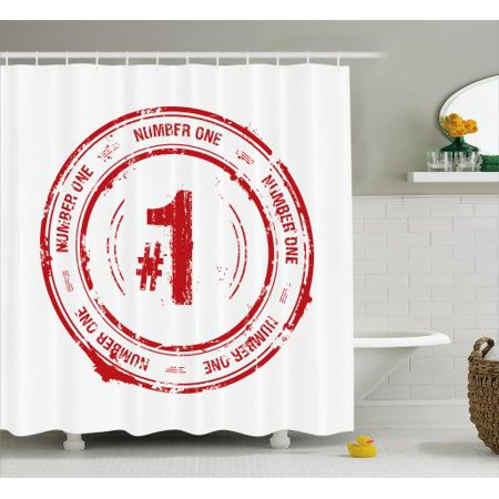 Number Shower Curtain, Number One Old Fashioned Grunge Stamp at Top Best Leader Emblem Design, Fabric Bathroom Set with Hooks, 69W X 84L Inches Extra Long, Vermilion and White, by
