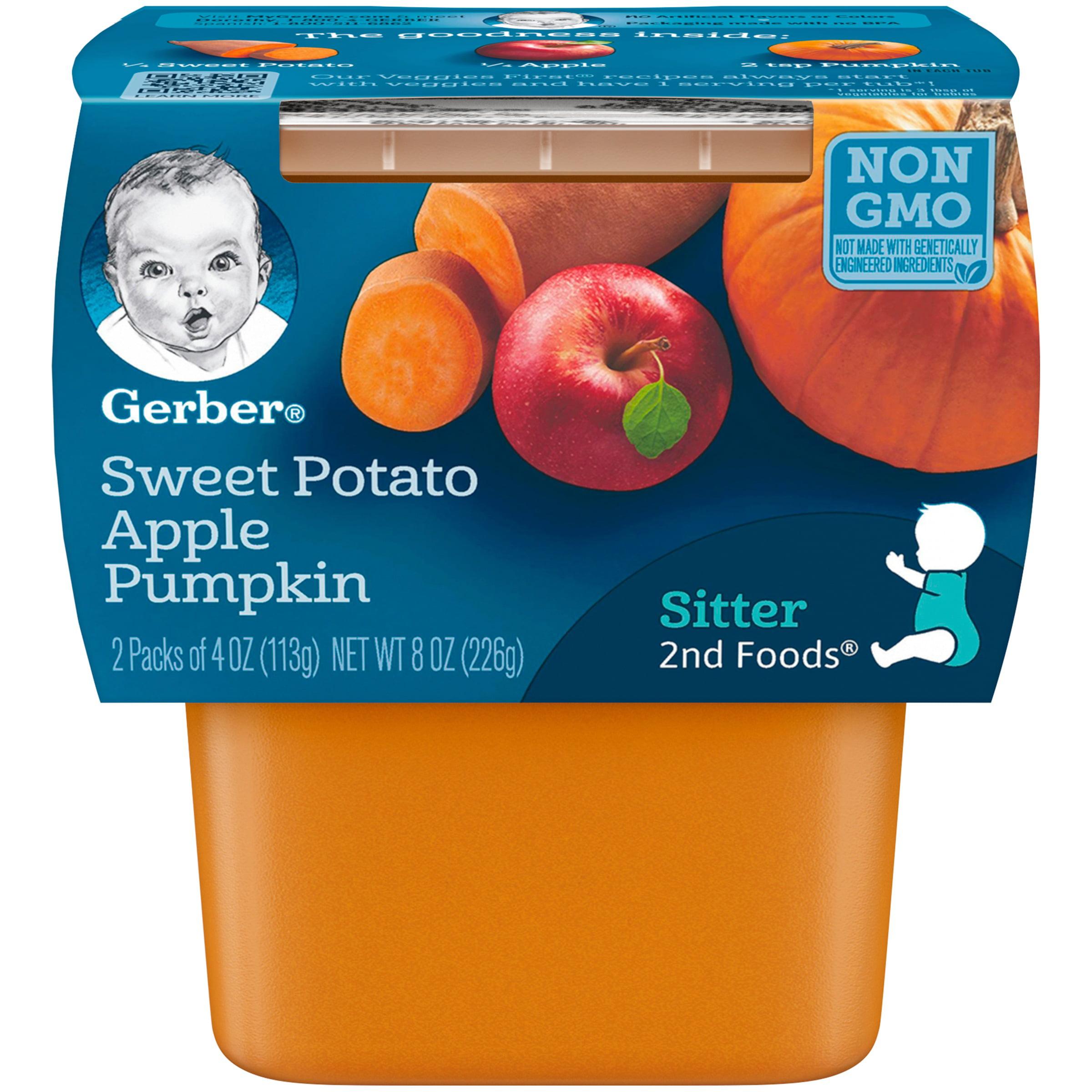 Gerber 2nd Foods Sweet Potato, Apple & Pumpkin Baby Food, 4 oz. Tubs, 2 Count (Pack of 8)