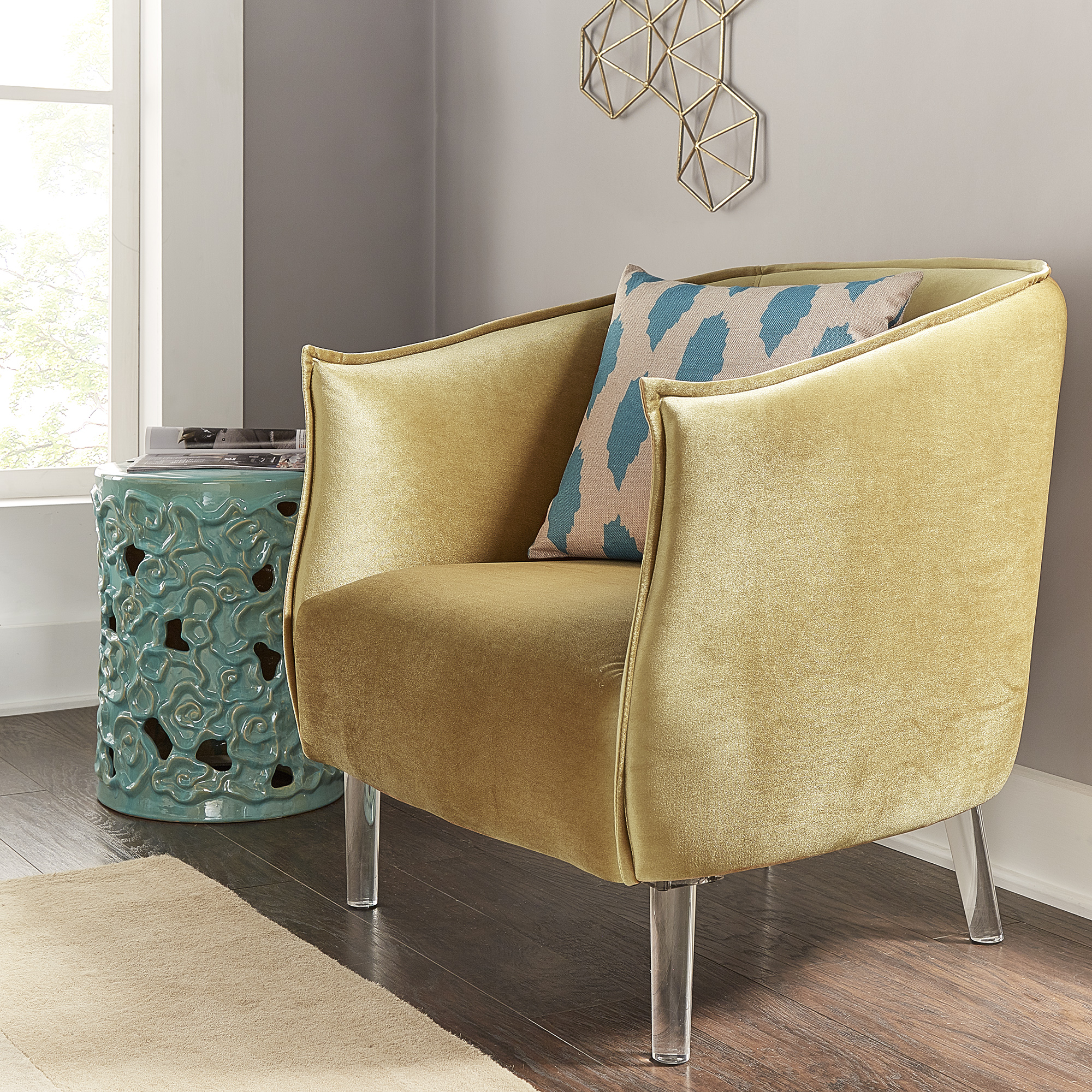 Weston Home Eldridge Barrel Accent Chair With Clear Legs, Multiple Colors