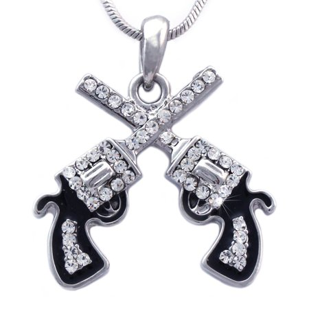cocojewelry Cowboy Cowgirl Double Crossing Revolver Gun Pistol Pendant Necklace (World Imports Iron Pendant)