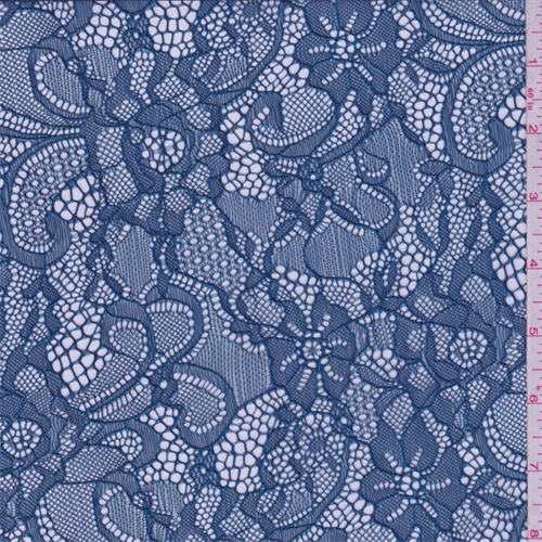 Hazy Blue Floral Lace, Fabric By the Yard