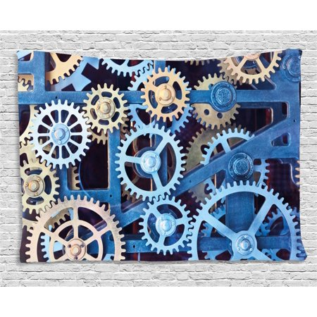 Clock Decor Tapestry, A Set of Clock Gears Steel Cogwheels Pattern Mechanical Theme Design, Wall Hanging for Bedroom Living Room Dorm Decor, 60W X 40L Inches, Blue and Sand Brown, by Ambesonne
