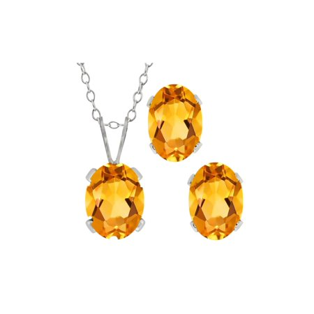 1.40 Ct Oval Yellow Citrine Gemstone Sterling Silver Pendant Earrings Set