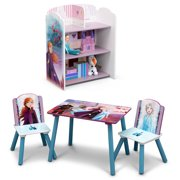 Disney Frozen II 4-Piece Playroom Set by Delta Children – Includes Table and 2 Chair Set and 3-Shelf Playhouse Bookcase