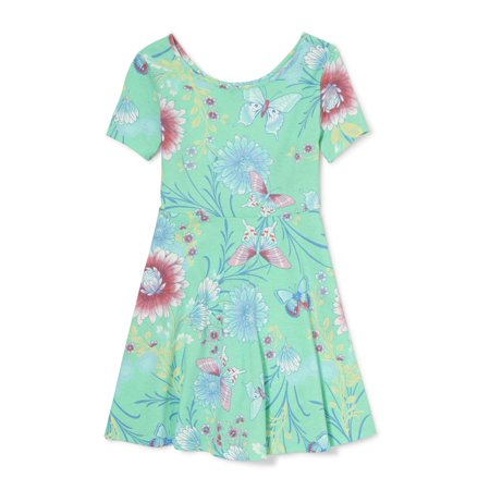 Floral Short Sleeve Fit and Flare Jersey Dress (Little Girls & Big Girls)](The Roaring Twenties Dresses)