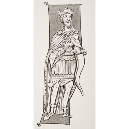 Frankish Chief Or King Armed With A Scramasax A Type Of Single Edged Knife From A Miniature Of The Ninth Century Canvas Art - Ken Welsh  Design Pics (10 x 21) Chief Centris Single