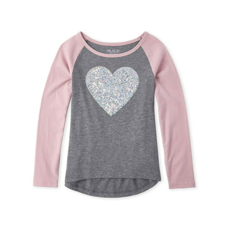 The Children's Place Long Sleeve Raglan Embellished Graphic T-Shirt (Little Girls & Big (Best Place To Shop For Girl Clothes)