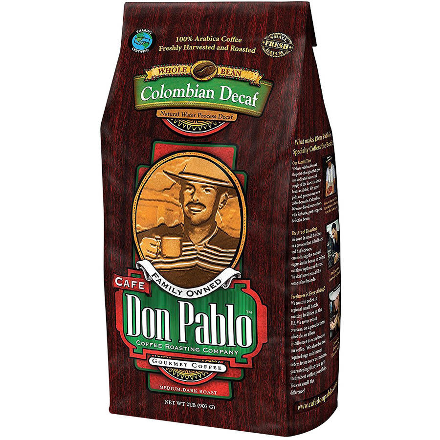 Cafe Don Pablo Colombian Decaf Medium-Dark Roast Whole Bean Coffee 2LB
