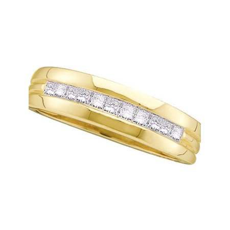 Princess Diamond Man Wedding Ring - 14kt Yellow Gold Mens Princess Diamond Single Row Band Wedding Ring 1/2 Cttw Fine Jewelry Ideal Gifts For Women Gift Set From Heart