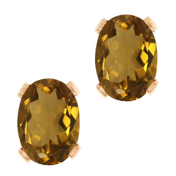 2.30 Ct Oval Whiskey Quartz Gold Plated 4-prong Stud Earrings 8x6mm