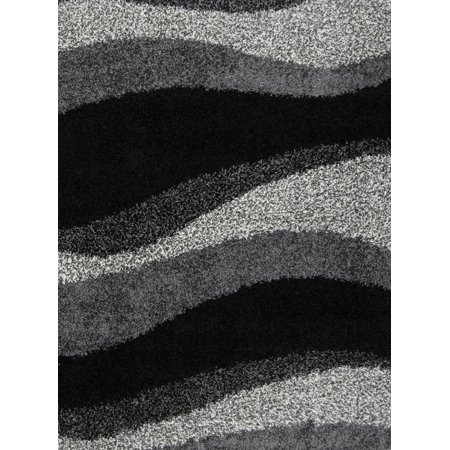 Contemporary Modern Shag Black Gray Area Rug Waves Shaggy