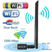 1200 Mbps Dual Band 2.4GHz 5GHz Wireless USB 3.0 WiFi Dongle Adapter Network LAN 802.11AC w/Antenna