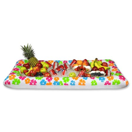 Pack of 6 Multi-Colored Inflatable Tropical Luau Themed Buffet Coolers 53.75