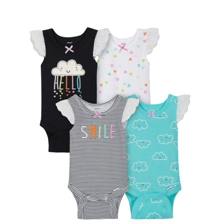 Sleeveless Tank Top Onesies Bodysuits, 4pk (Baby Girls) - Halloween Onesies For Kids