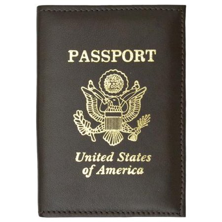 Marshal Wallet® RFID Blocking Premium Leather United States Passport Holder Golden Print Emblem RFID P 601 USA