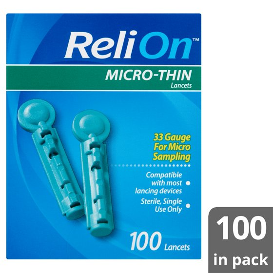 ReliOn Micro-Thin Lancets, 100 count - Walmart com