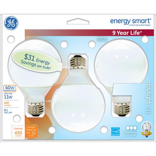 GE energy smart?? CFL 11 watt G25 3-pack