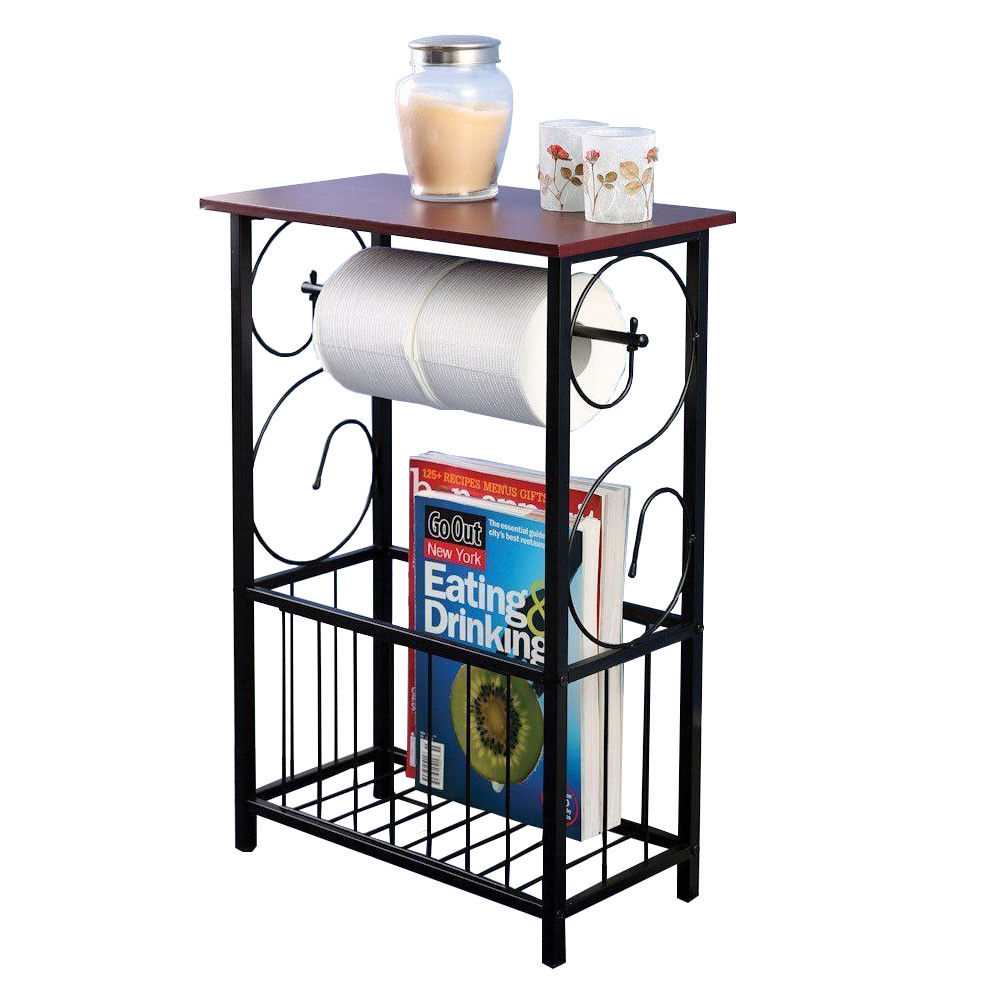 Zimtown Bathroom Table and Stand with Toilet Paper Roll-Bar Holder and Storage Rack - Black Metal Frame with Scroll Design, Walnut Color Wood Top - Ideal to Keep Essential Toiletries at Easy Reach