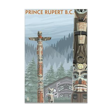 Prince Rupert, BC Canada - Totem Poles - Lantern Press Poster (24x36 Acrylic Wall Art Gallery Quality) - Walmart.com