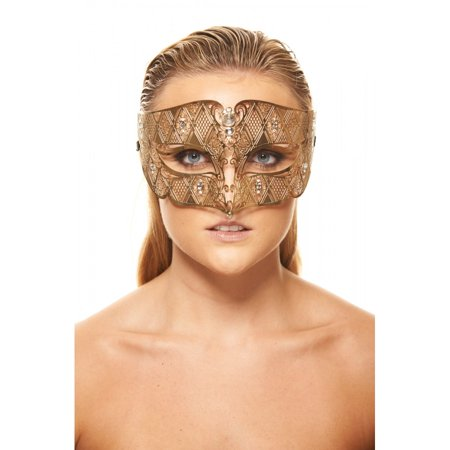 KAYSO INC BD008GD LUXURY ROMAN GUARD FILIGREE LASER CUT METAL MASK (GOLD WITH CLEAR RHINESTONES)