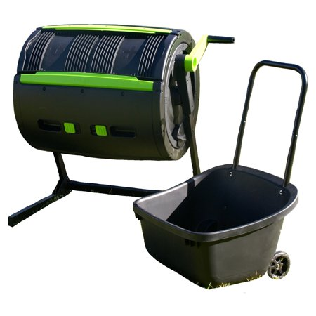 Riverstone Industries Maze Exclusive 65 Gal. Compost Tumbler with Cart & Kitchen Caddie Composter – Black