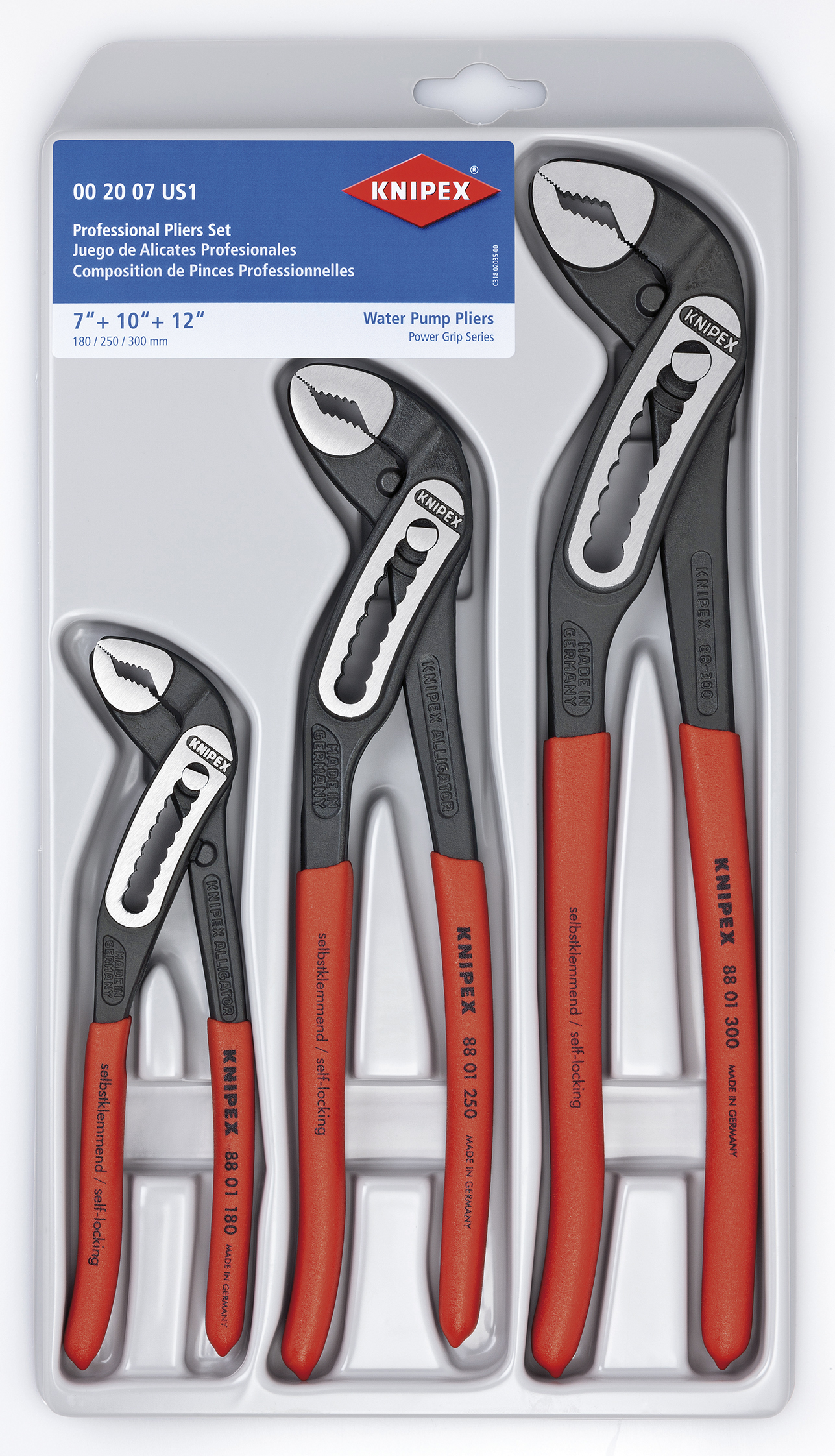 KNIPEX Tools 00 20 07 US1, Alligator Pliers 7, 10, and 12-Inch Set, 3-Piece by KNIPEX Tools