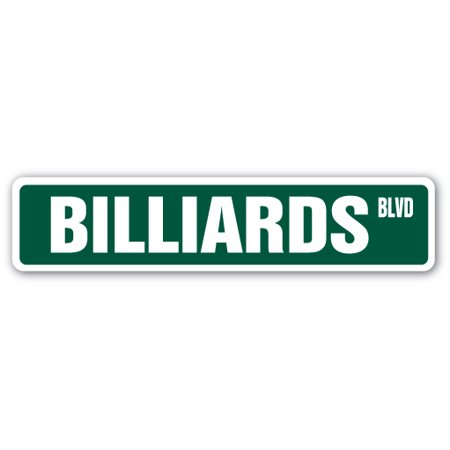 "BILLIARDS Street Sign foosball pool cue pooltable darts | Indoor/Outdoor |  24"" Wide"