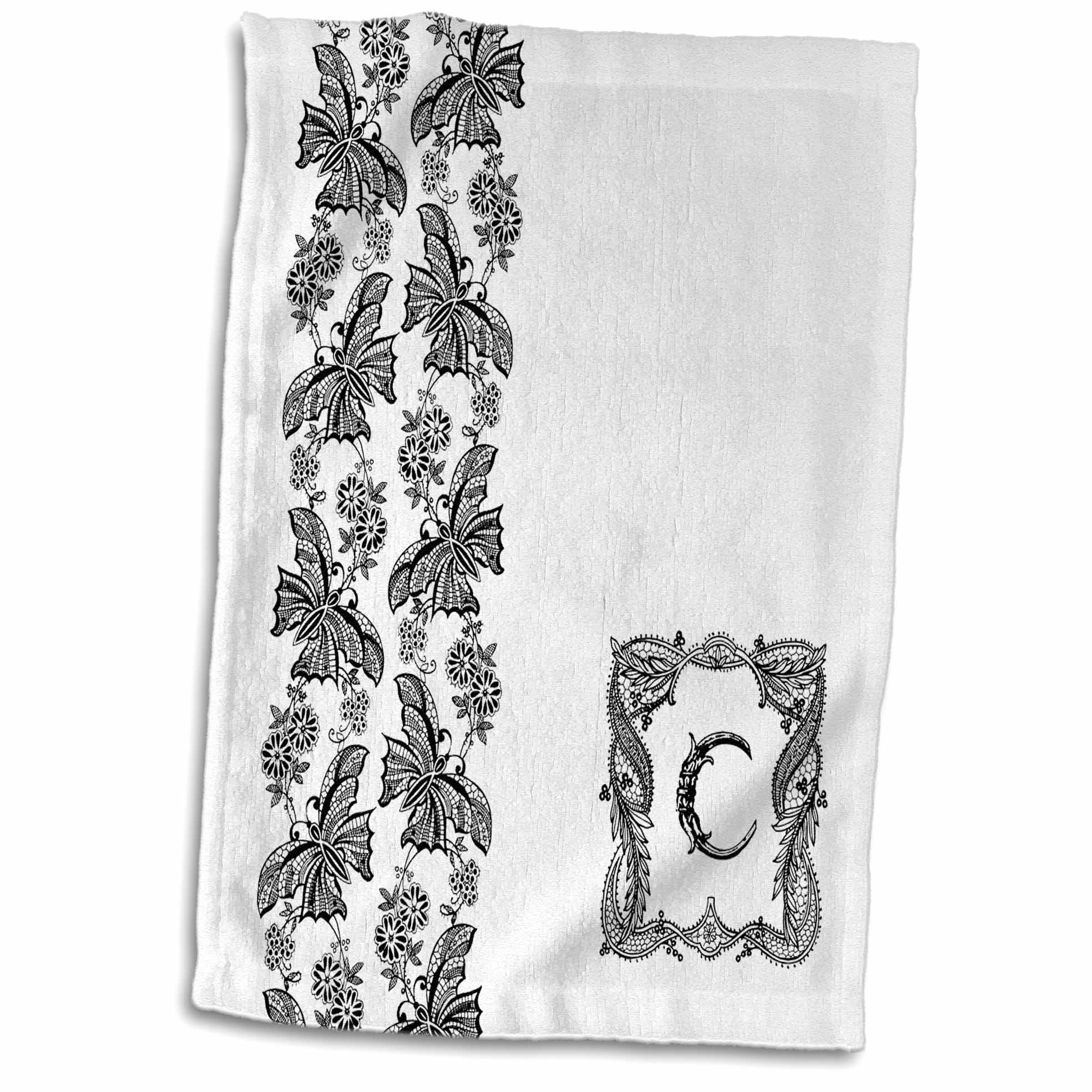 3dRose Monogram Initial C in Black Lace with Butterfly Detail - Towel, 15 by 22-inch