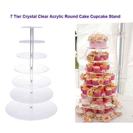 Round Clear Acrylic Cupcake Stand Wedding Party Display Cake Tower 7 Tier Stand