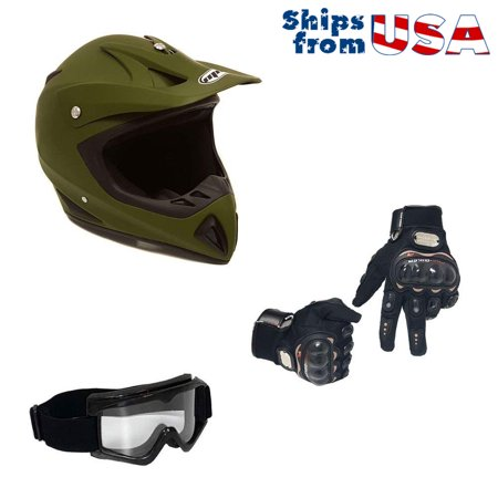 a4026b9e2ea COMBO Adult Motorcycle Off Road Helmet DOT - MX ATV Dirt Bike Motocross UTV  (XL