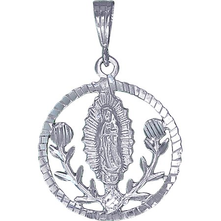 - Guadalupe and Roses Sterling Silver Virgin Mary Pendant Medallion