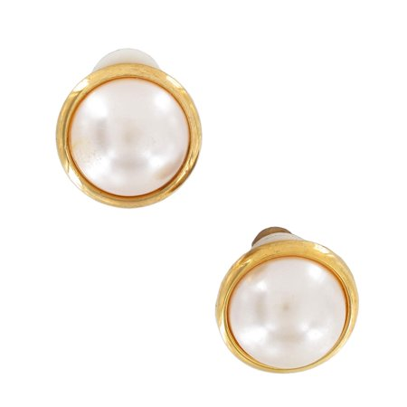 Clip On Earrings White Faux Pearl Button Gold Tone 17mm 11/16