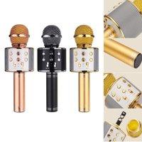 WS858 Bluetooth Wireless Karaoke Handheld Microphone USB KTV Player Bluetooth Mic Speaker Record Music