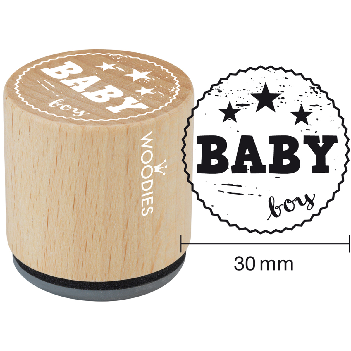 "Woodies Mounted Rubber Stamp 1.35""-Baby Boy"