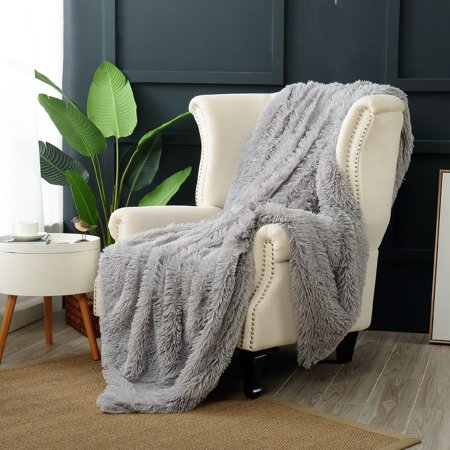 Reafort Luxury Long Hair PV Fur Faux Fur Oversized Throw Blanket - Faux Snow Blanket