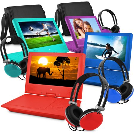 Ematic 9  Portable Dvd Player With Color Headphones And Carrying Bag  Bundle