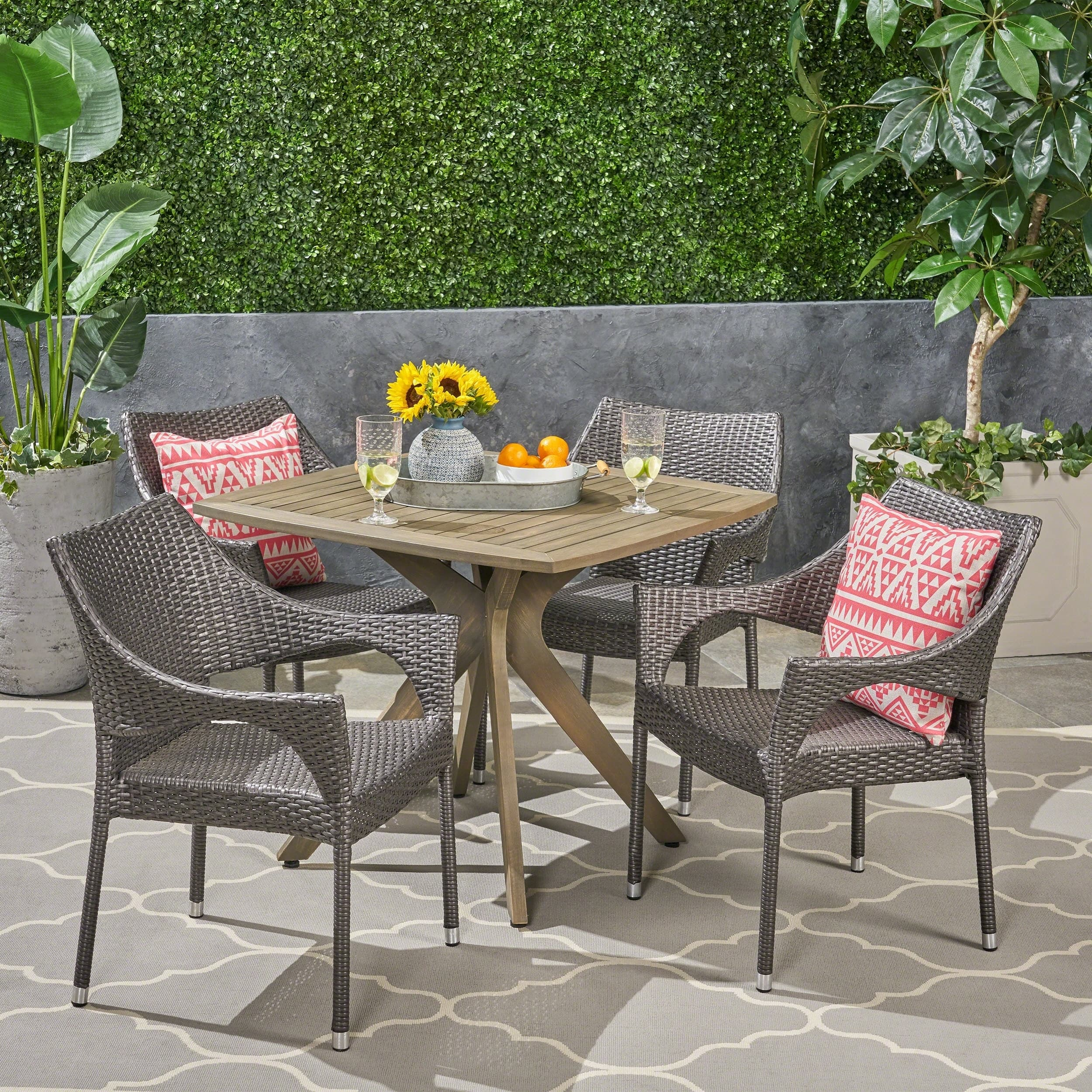 Christopher Knight Home Tioman Outdoor 5 Piece Wood and Wicker Dining Set by