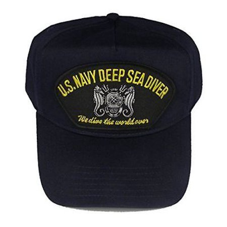 Navy Deep Sea Diver - USN NAVY DEEP SEA DIVER WE DIVE THE WORLD OVER BLUE HAT W/ MASTER DIVER BADGE