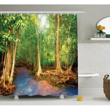 Rainforest Decorations  Roots Of Mangrove Trees With Turquoise Creek Asian Nature Wildlife Decoration, Bathroom Accessories, 69W X 84L Inches Extra Long, By - Asian Decorations