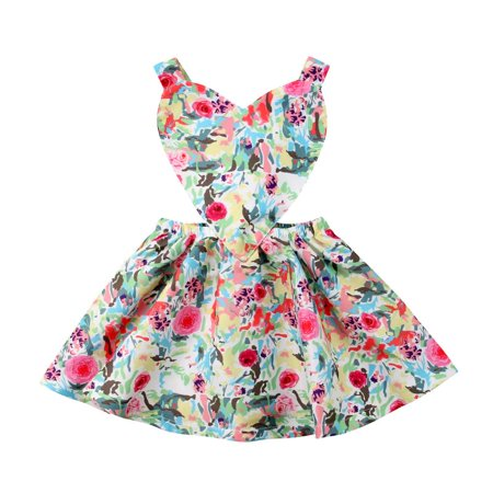 Newborn Baby Girls Love Heart Floral Backless Princess Party Dress Skirt Outfit](Newborn Baby Girl Party Dresses)