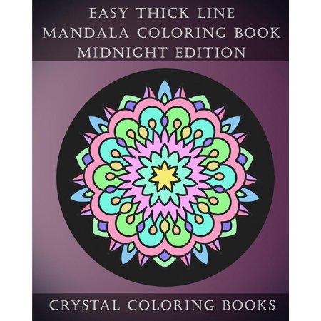 Easy Thick Line Mandala Coloring Book Midnight Edition 30 Easy