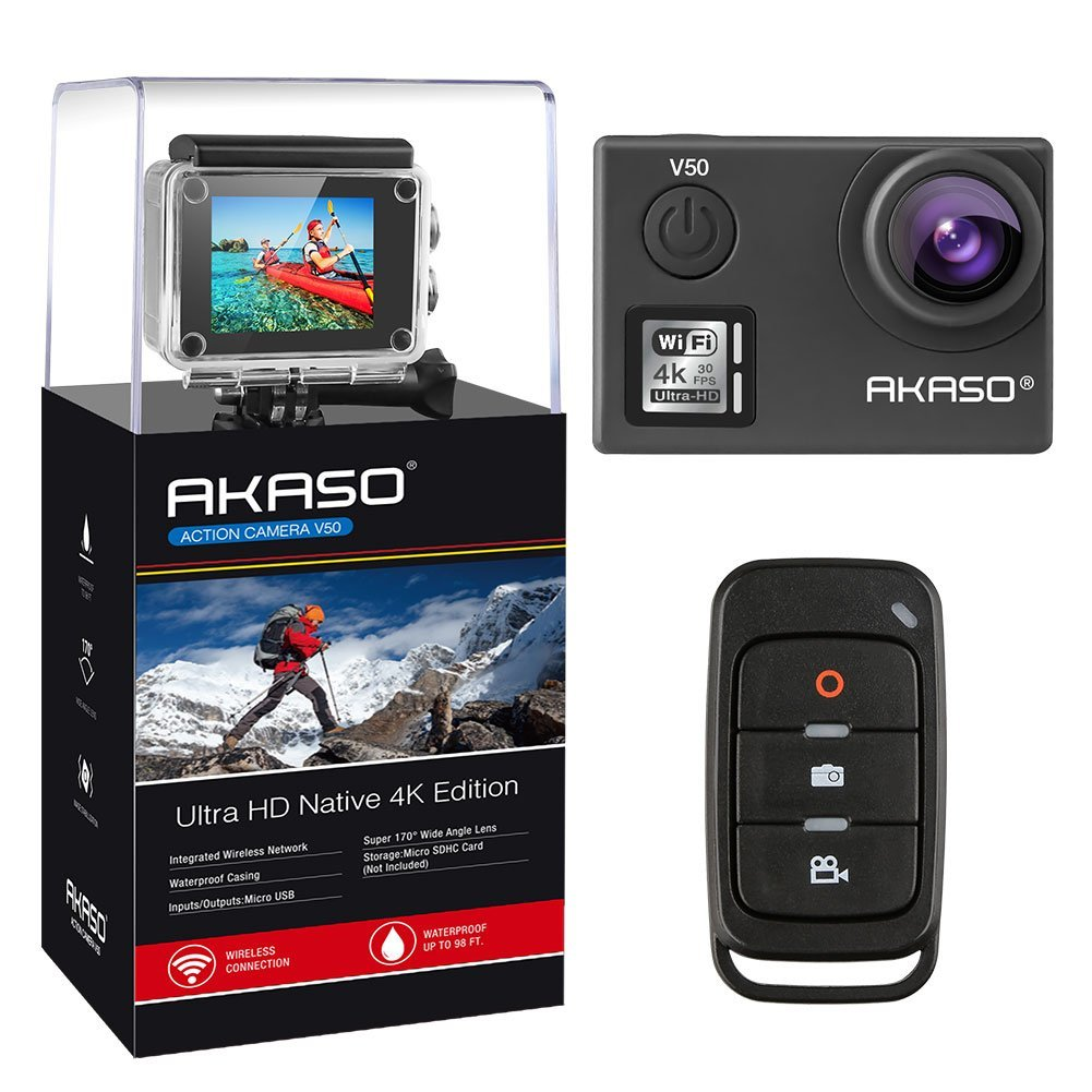 AKASO V50 Native 4K Touchscreen Waterproof WIFI Sport Action Camera, Ultra HD 20MP 30m Waterproof Camera with Remote Control, 170 Degree Wide Angle Sport Action Camcorder with Two Batteries