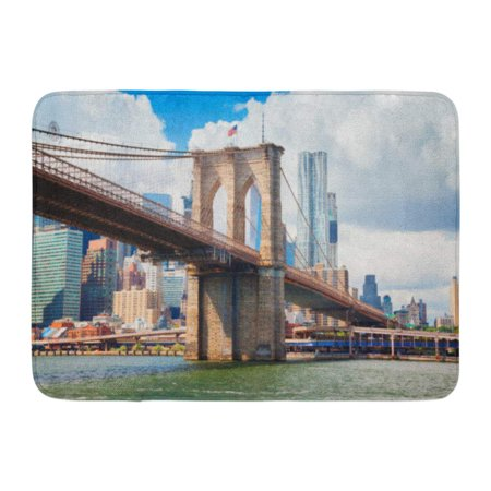 GODPOK Architecture Pink York View of Manhattan with Famous Brooklyn Bridge America Building Rug Doormat Bath Mat 23.6x15.7 inch