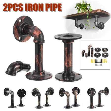 AUGIENB Industrial Wall Mounted Iron Pipe Shelf Bracket Bookshelf, Open Display Rustic Heavy Duty Hardware Floating Shelves for Office Home Christmas Decor, 15*8cm, 2-Pack