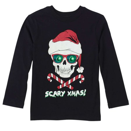 Childrens Place Boys Black Scary Xmas Long Sleeve Shirt Skull T-Shirt This spooky  Scary Xmas!  long sleeve shirt features a skull and candy cane crossbones design.Long sleeve shirtSize: boys100% cottonMachine washableBrand: The Childrens Place