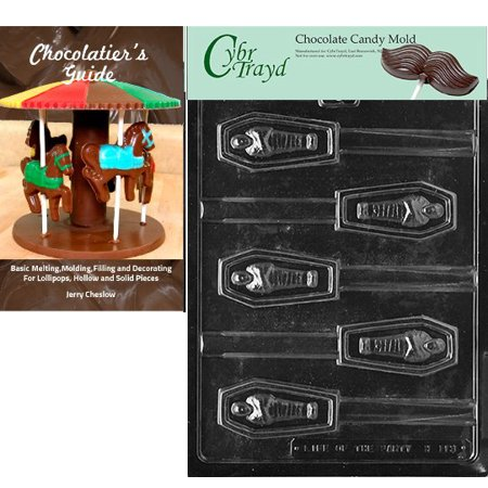 Cybrtrayd Casket Pretzel Pop Halloween Chocolate Candy Mold with Our Chocolatier's Guide Instructions Manual