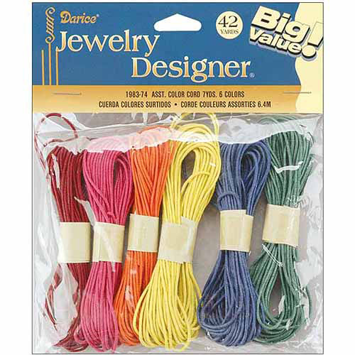 Darice Color Cord 6 Pack, .4 Meters, 6/pkg, Assorted Colors