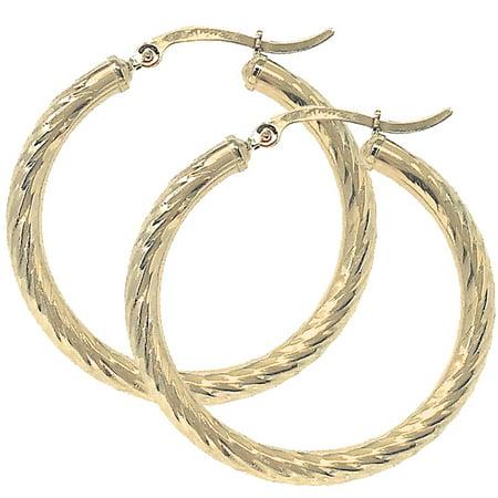 14k Real Yellow 100% Gold Hollow Diamond Cut Round Hoop Loop Earrings 1.38