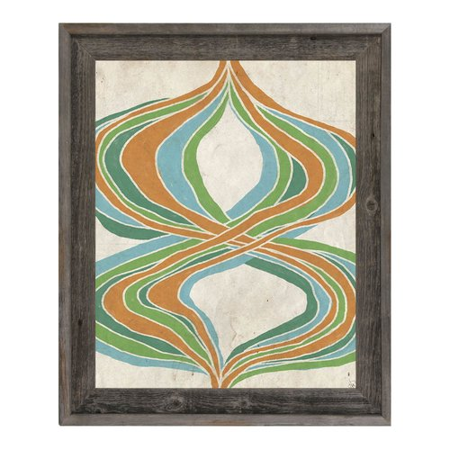 Click Wall Art 'Threads of Time Green and Orange' Framed Print of Painting
